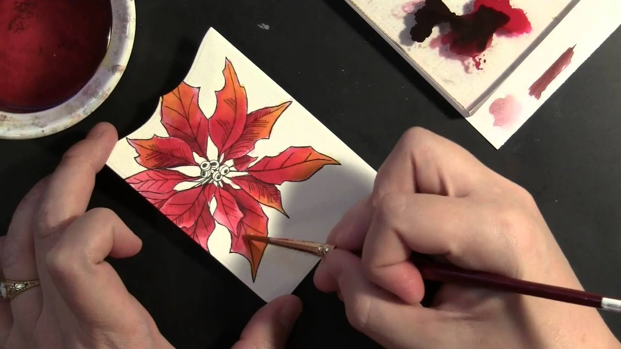 PB&J Stamped and Watercolored Poinsettia - YouTube