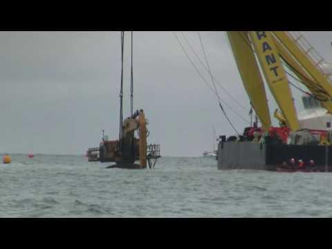 Cat Digger Moby Dig v Cormorant Crane Ship Rampion Wind Farm Worthing