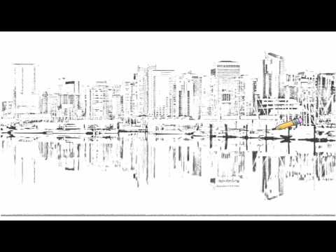 auto-draw-2:-coal-harbour,-downtown-vancouver-skyline,-british-columbia