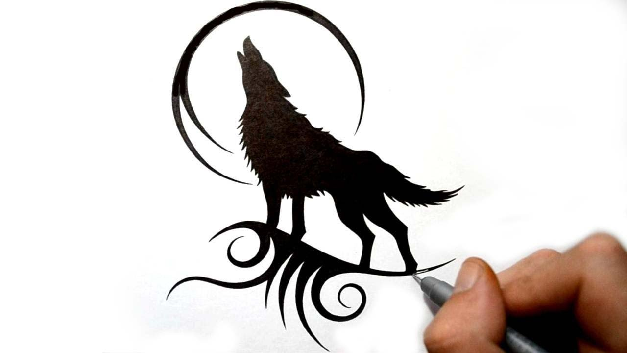 Drawing A Howling Wolf Silhouette Black Tribal Tattoo Design Youtube