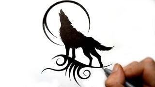 Drawing a Howling Wolf Silhouette - Black Tribal Tattoo Design
