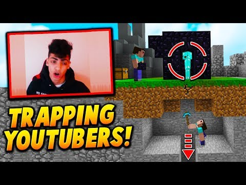 OBSIDIAN CAGE TRAPPING YOUTUBERS! - Minecraft SKYWARS TROLLING (RAGE QUITS!)