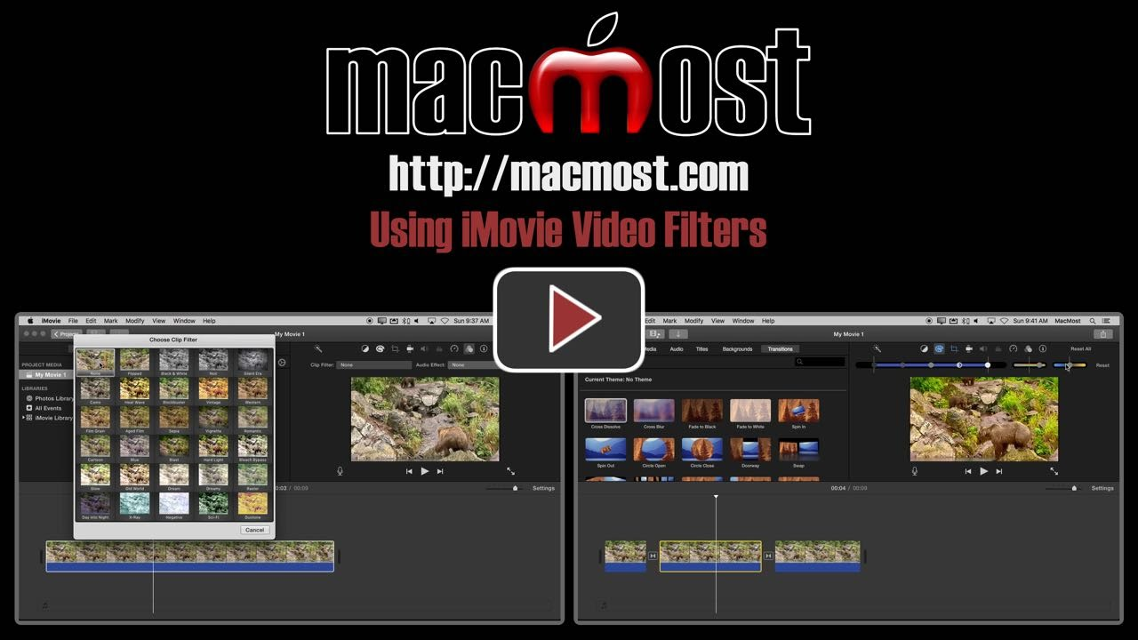 Using iMovie Video Filters