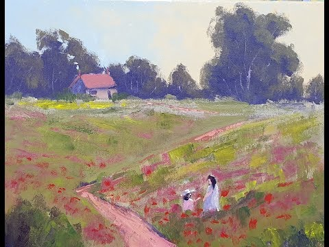 """Learn To Paint TV E70 """"Monet's Poppy Fields"""" Acrylic Painting Poppies Landscape Beginners Tutorial"""