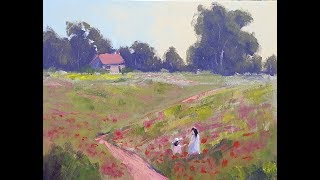 "Learn To Paint TV E70 ""Monet's Poppy Fields"" Acrylic Painting Poppies Landscape Beginners Tutorial"