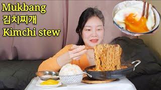 [자취먹방] 먹고 남은 김치찌개 더 맛있게 먹는법 알려드림/ Kimchi- jjigae /밍밍이네 포장마차 / 현실자취먹방 / Reality eating show