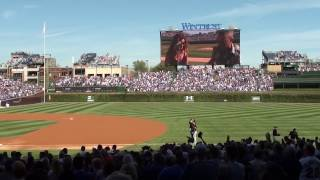 Michael McDermott & Heather Horton sing the National  Anthem @ Wrigley Field