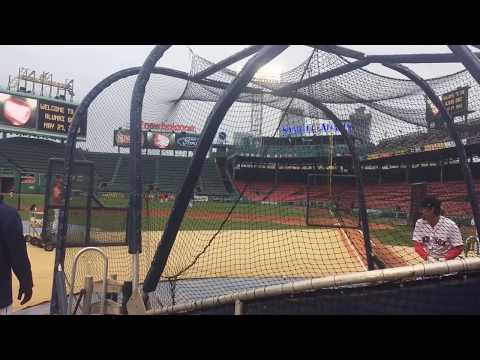 Wade Boggs, 59, takes batting practice before Boston Red Sox alumni game at Fenway Park