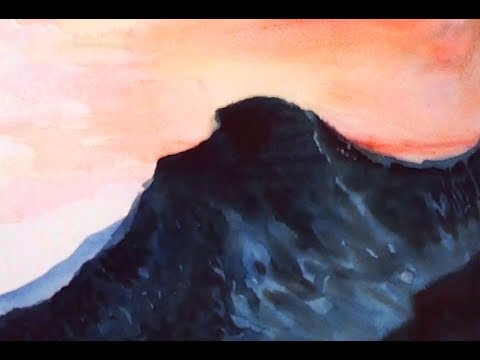 how to make a simple watercolor painting | sunset at the mountain