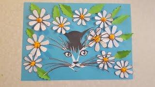 Котенок в ромашках Аппликация из цветной бумаги с шаблоном для скачивания
