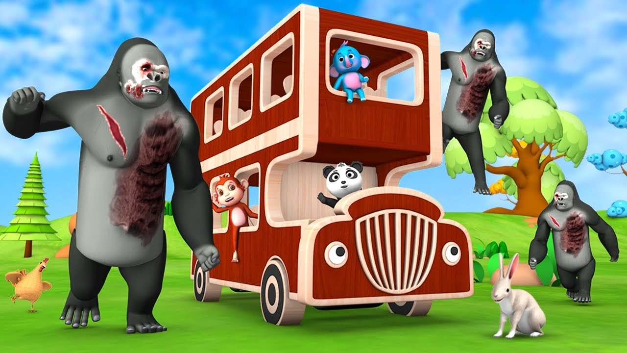 Funny Monkey Panda Escape from Zombie Gorilla with Wooden Monster Truck Funny Animal Videos Cartoons