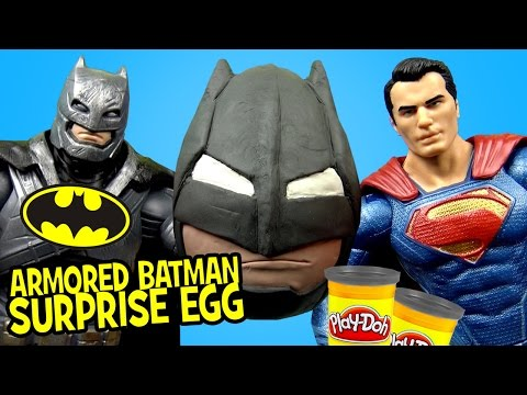 Batman V Superman Toys W/ Armored Batman Play-Doh Suprise Egg By KidCity