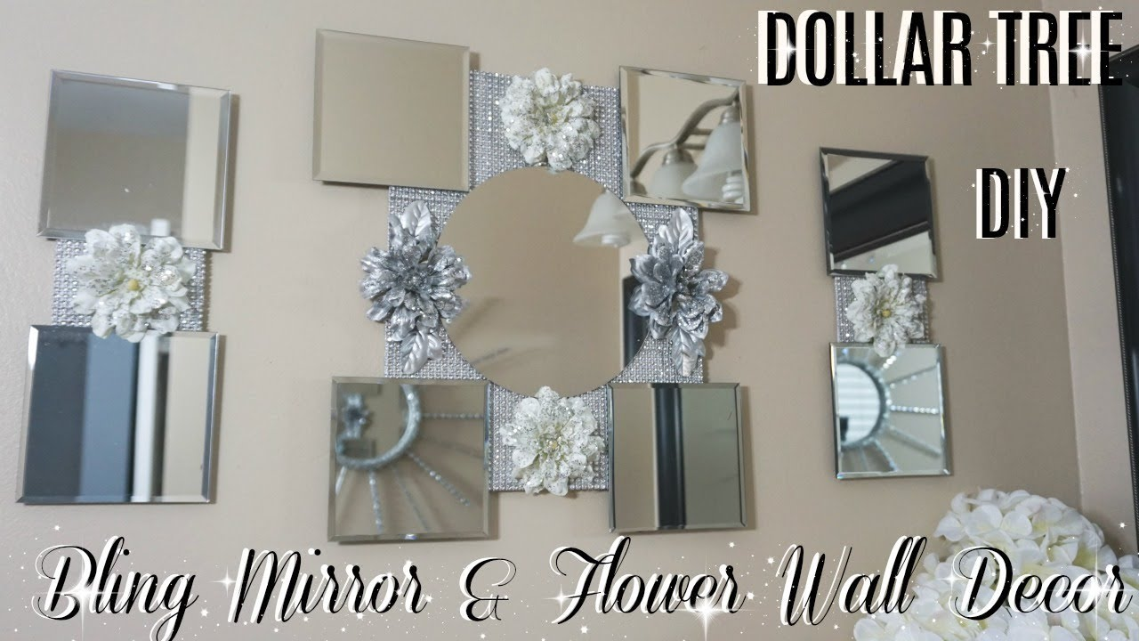 DIY DOLLAR TREE FLOWER MIRROR WALL DECOR