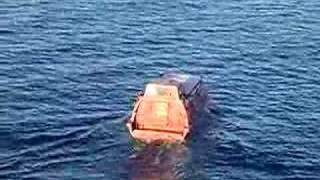 Life boat going into water