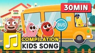 WHEELS ON THE BUS    30MIN   LARVA KIDS   CAR SONG   SUPER BEST SONGS FOR KIDS