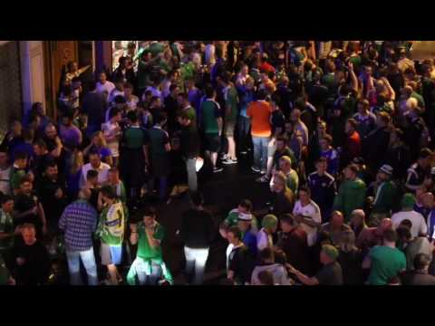 Getting started, Irish fans singing in front of my apartment. Euro 2016, Paris
