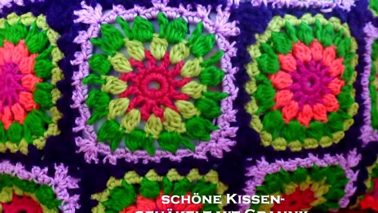 granny squares kissen kissenh lle kissenbezug muster anregungen youtube. Black Bedroom Furniture Sets. Home Design Ideas