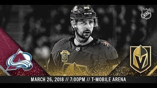 NHL 18 PS4. REGULAR SEASON 2017-2018: Colorado AVALANCHE VS Vegas GOLDEN KNIGHTS. 03.26.2018.(NBCSN)