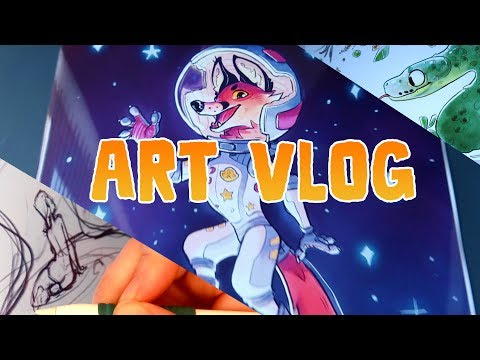 ART VLOG • Space Fox, more unfinished art + QnA ( vlog / speed paint)