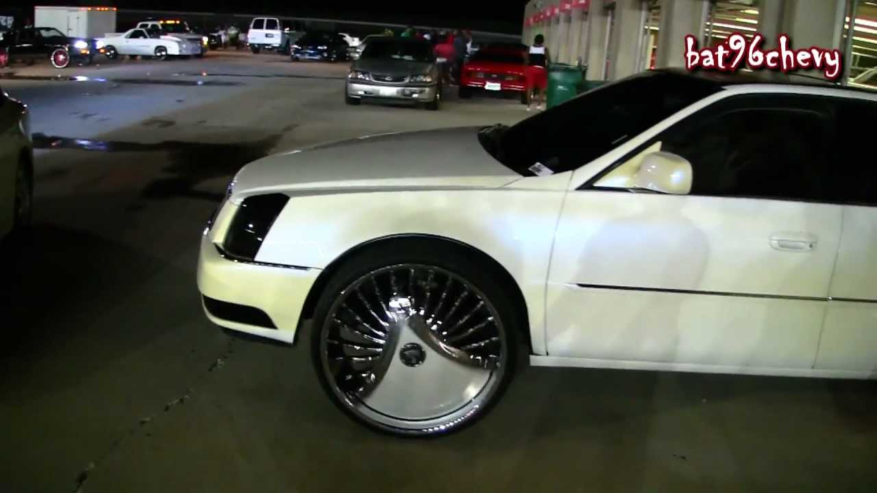 White W Blue Pearl Cadillac Dts On 26 Quot Dub Skirts Shokka