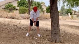 Golfer smashes ball into a tree, ricochets right into his ankle