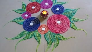 Easy and quick rangoli | Innovative rangoli designs by Poonam Borkar