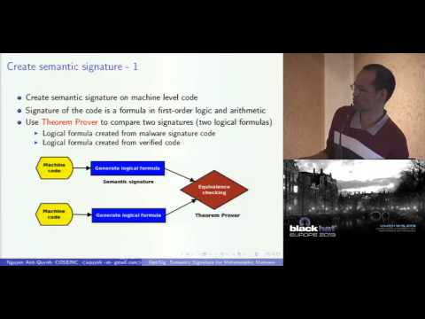Black Hat EU 2013 - OptiSig: Semantic Signature for Metamorphic Malware