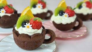 How to make fruits mini tart / Chocolate  Cookie cup recipe / Chocolate Cookies recipe