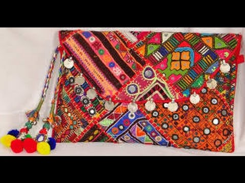 Beautiful Hand Embroidered Clutch Bagsindhi Embroidery Bag Youtube