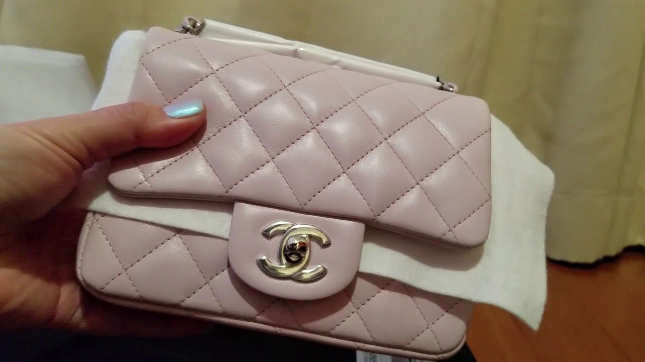 4f3d654986ef22 Unboxing New Spring 2018 Collection - Chanel Mini Square Light Pink Lambskin  - matching set