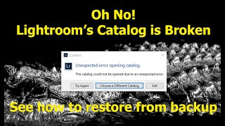 Restoring the Lightroom Classic Catalog from a Backup