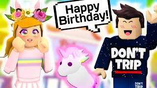 HE SURPRISED ME WITH A NEON UNICORN FOR MY BIRTHDAY // Roblox Adopt Me