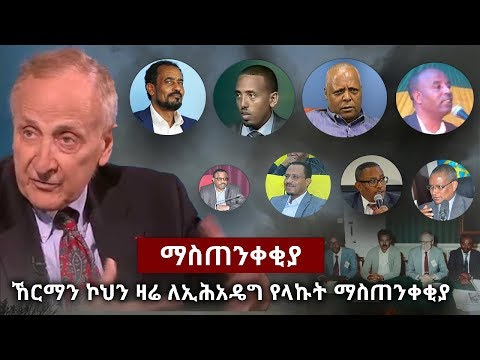Herman Cohen message about current issue in Ethiopia