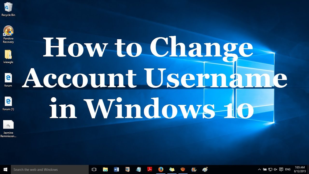How To Change Username On Laptop