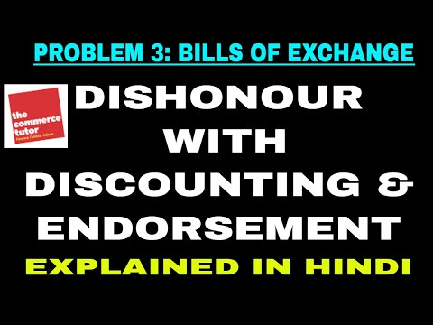 Problem 3 on Bill of Exchange : Discounting and Dishonour [Hindi]