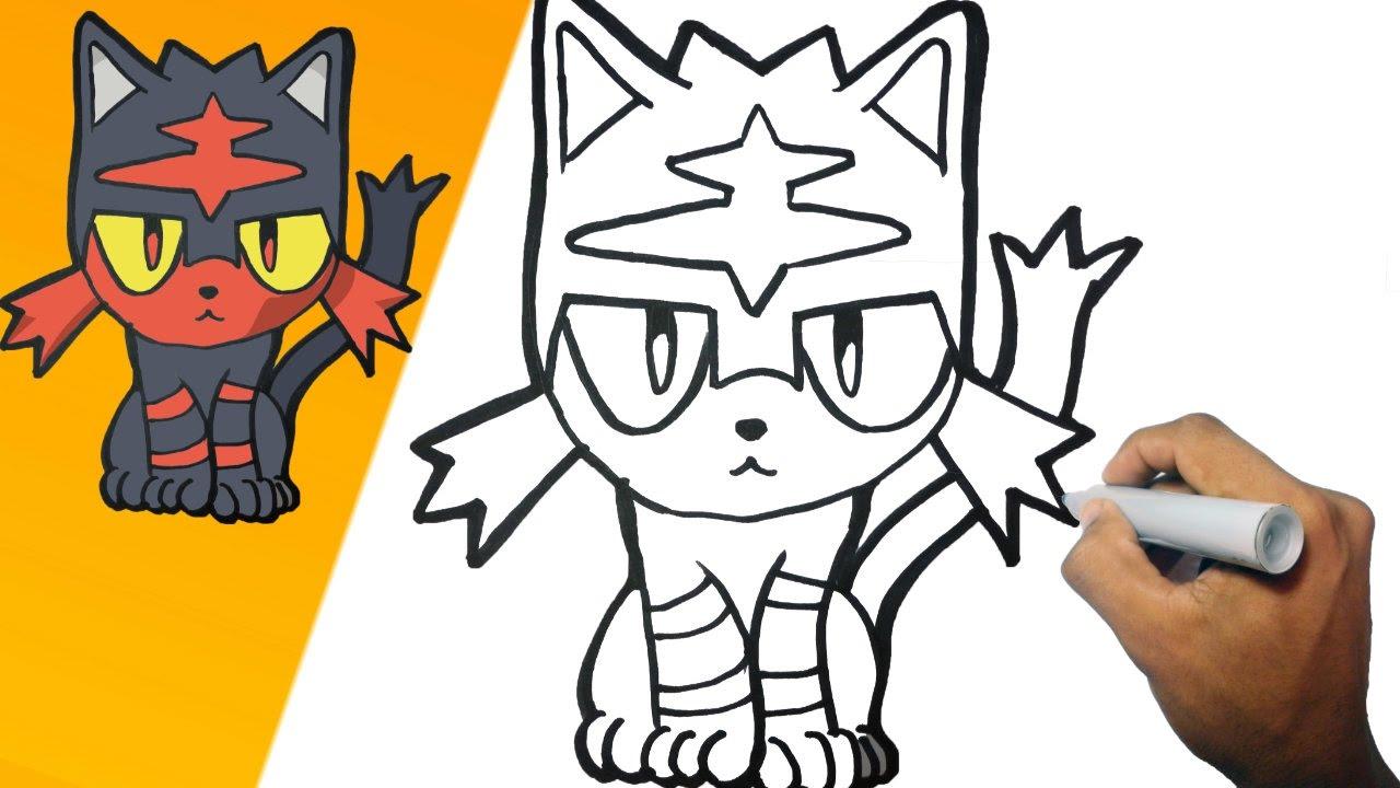 Como dibujar a Litten Pokemon Paso a paso  how to draw Litten
