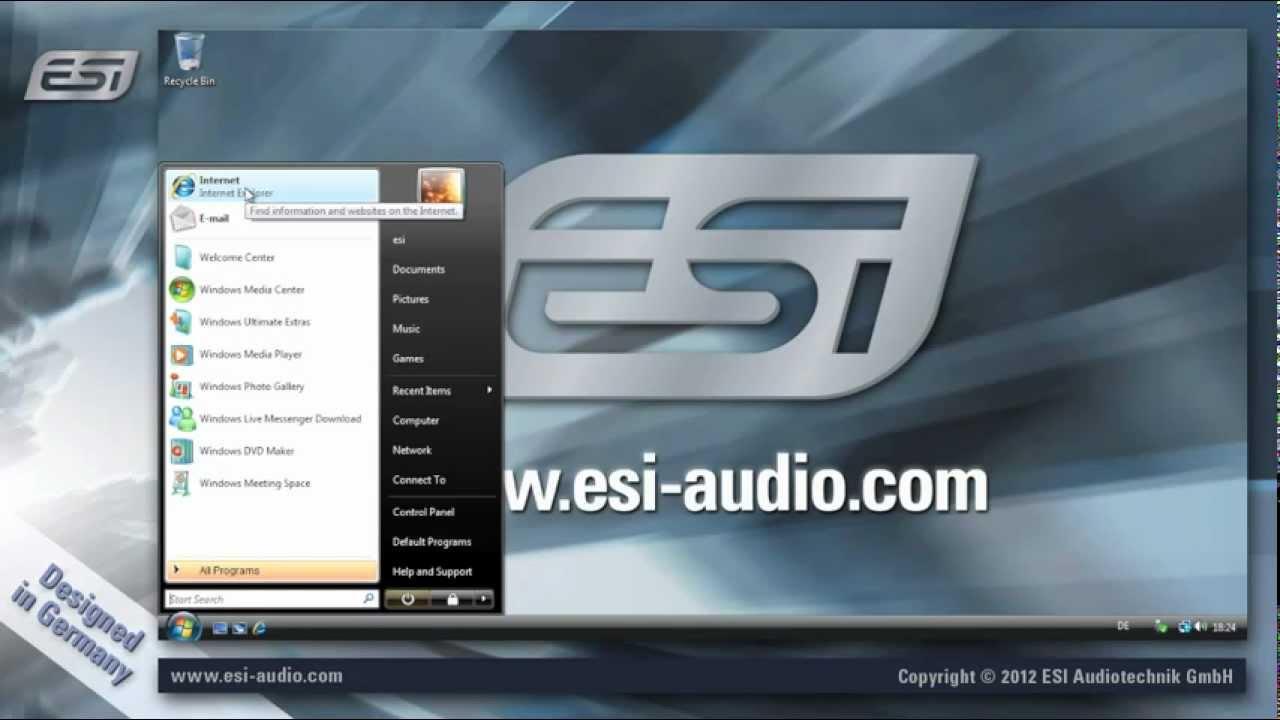 esi usb audio interface driver installation under windows vista 7 8 youtube. Black Bedroom Furniture Sets. Home Design Ideas