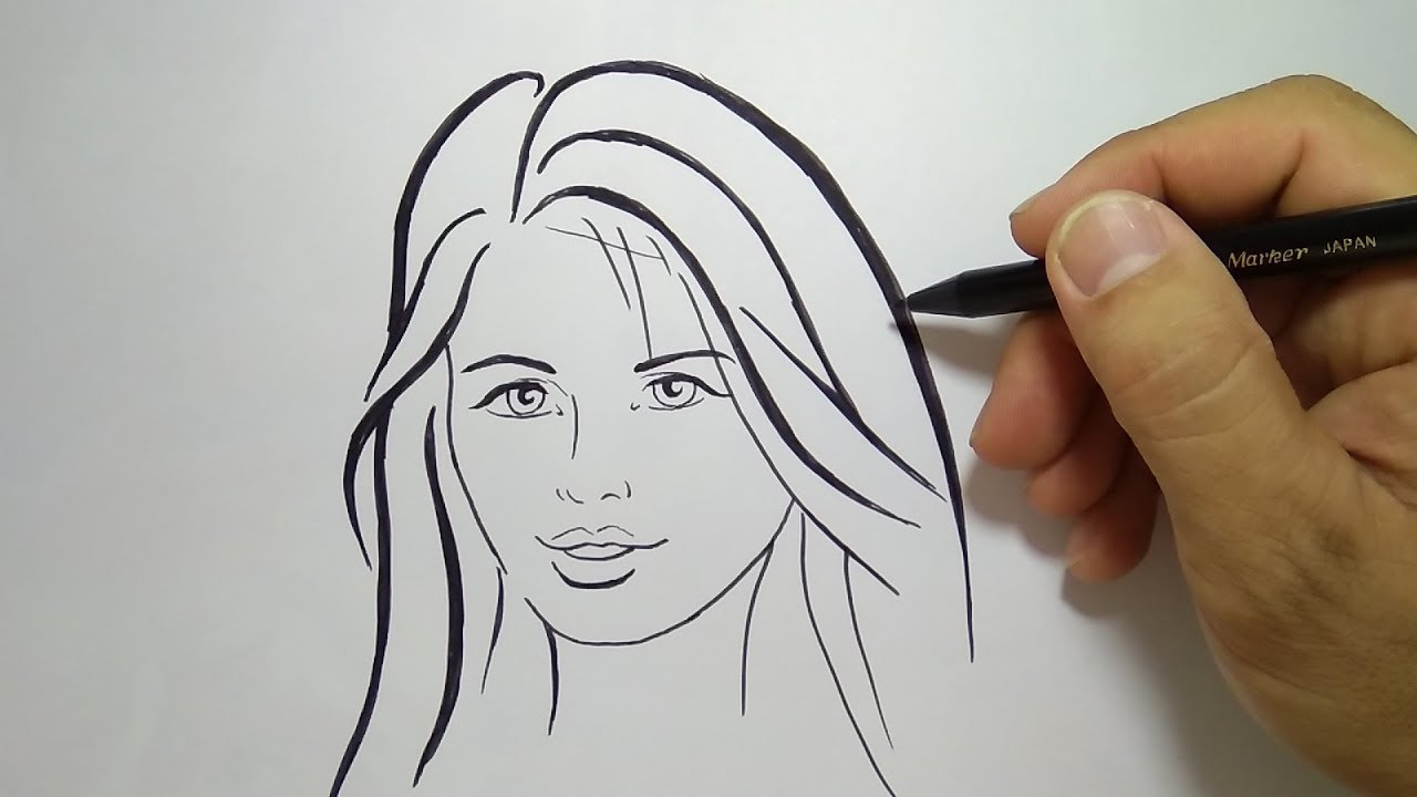 Cara Menggambar Wajah Orang Wanita How To Draw Woman Face Youtube