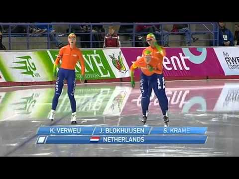 World record for Team Netherlands Sven Kramer, Jan Blokhuijsen and Koen Verweij 09-11-2013