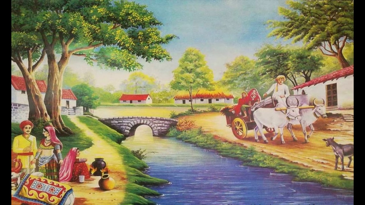 village painting pictures  Village paintings 13 - YouTube