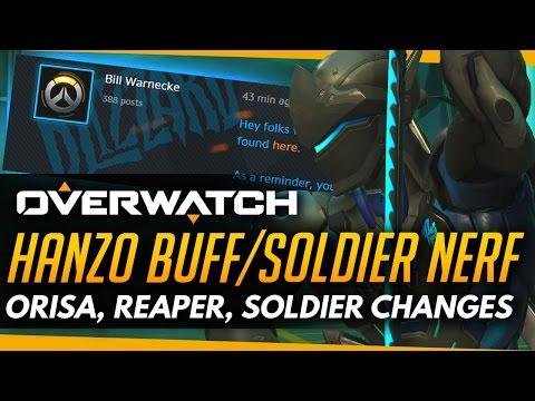Overwatch | HANZO BUFFED / SOLDIER NERFED - Changes to Orisa, Genji, Reinhardt, Reaper (PTR)