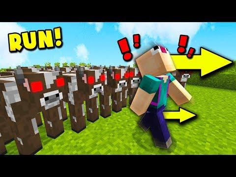 1000 COWS VS THE WORLDS BIGGEST MINECRAFT NOOB (Minecraft Pocket Edition)