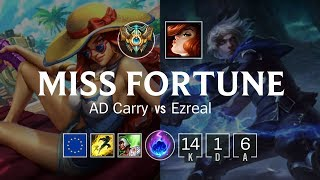 Miss Fortune ADC vs Ezreal - EUW Challenger Patch 8.20