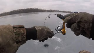 """Ice Fishing For Walleye & Perch """"Chasing Flags"""""""