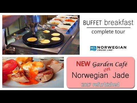 Norwegian Jade refurbished | Breakfast Buffet in Garden Café | Complete tour. DJI Osmo+