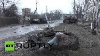 RAW: Smashed-out tanks & APCs following intense battles in Debaltsevo cauldron area