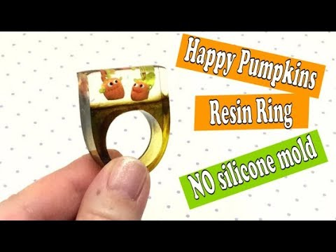 Happy Pumpkins- polymer clay and resin ring- No silicone molds