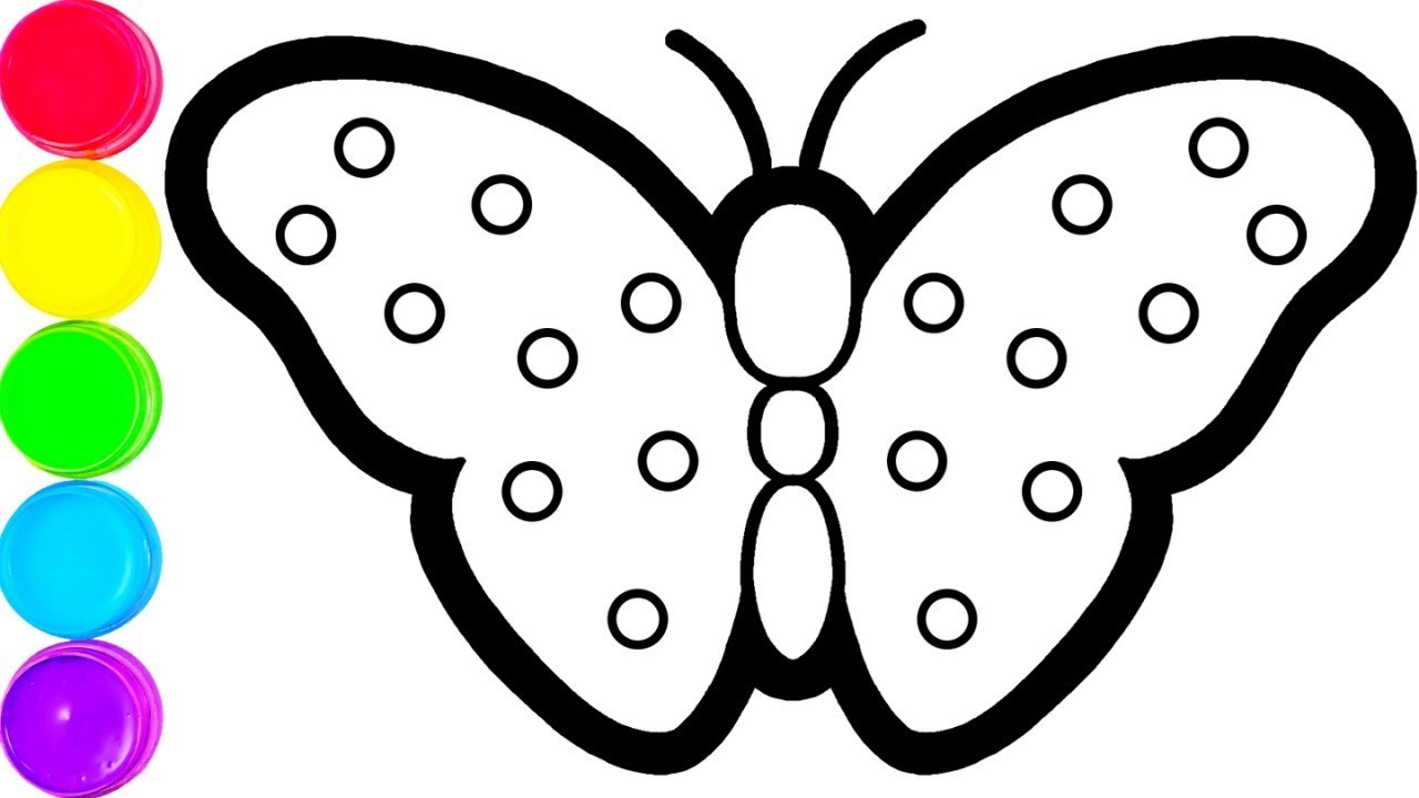 Glitter Butterfly coloring and drawing for Kids, Toddlers ...