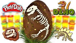 Huevo Sorpresa Gigante de Esqueleto de Dinosaurio Fosil Rex de Plastilina Play doh en Español