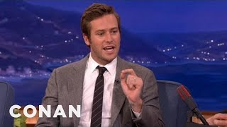 """Armie Hammer Had A Weird First Meeting With Johnny Depp Rehearsing For """"The Lone... - CONAN on TBS"""